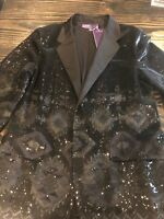 Ralph Lauren Sequin Blazer Black Size 14 Brand New Geometric Purple Label Coutur