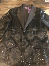 Ralph Lauren Sequin Blazer Black Size 14 Brand New Geometric Purple Label Coutur