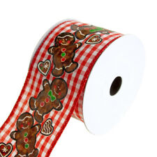 Gingerbread Gingham Checkered Wired Christmas Holiday Ribbon, 2-1/2-Inch, 10 Yd