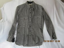 Preowned Men's Size Medium 15 to 15 1/2 Black & White Check Wool L.L.Bean Shirt
