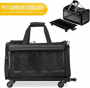 KOPEKS Small Pet Travel Carrier Bag with 4 Wheel Platform