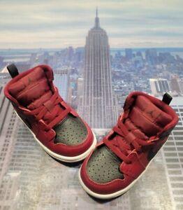 Nike Jordan 1 Mid Team Red/Black-Summit White TD Toddler Size 7c 640735 601 New