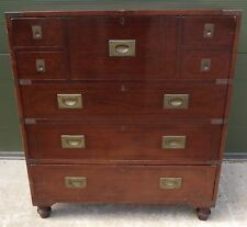 MAHOGANY TELEVISION CABINET IN THE ANTIQUE CAMPAIGN STYLE - DAMAGED NEEDS REPAIR
