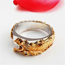 Head Ring Charm Ring Jewelry Mp Mens Fashion Two Tone Gold Toned Dragon