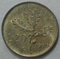 MONETE REPUBBLICA ITALIANA 20 LIRE  RAMO DI QUERCIA 1980 DA ROTOLINO FDC