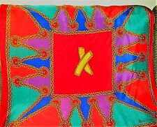 PALOMA PICASSO Scarf  Signed Vintage 90s Jeweled Red, Blue & Green with  antique