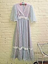 Vtg 70s Glinda blue gown dress boho Empire Waist Handmade Princess
