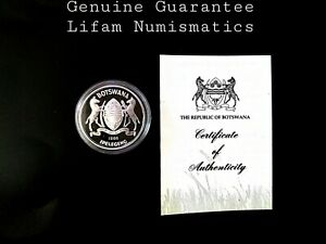 Botswana 1986 2 Pula / Slaty Egret KM-18 / silver proof WWF coin + COA