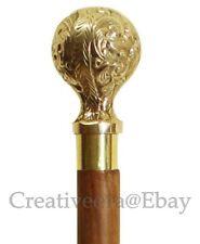 Walking cane Brown stick Designer Brass Handle victorian nautical solid 37 head