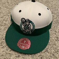 0b60312f34d822 Boston Celtics Mitchell Ness White Green Fitted Hat Size -7 NWT MSRP $30
