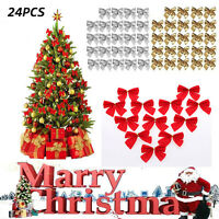 Wholesale 24X Christmas Tree Bow Decoration Baubles XMAS Party Red Silver Gold