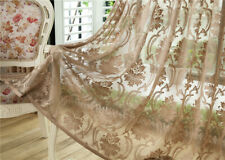 1 Panel Brown Europe Flower Embroidery Jacquard Sheer Curtains Tulle Valance