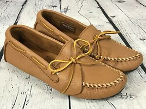 New MINNETONKA Handsewn Brown MOOSEHIDE Moccasin Shoes Women's Size 9 M