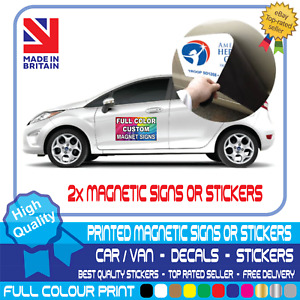2x MAGNETIC SIGNS MOTORWAY GRADE VEHICLE, VAN, CAR FULL COLOUR PRINTED STICKER
