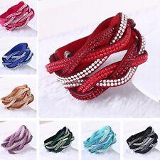 Fashion Leather Wrap Wristband Cuff Punk Crystal Rhinestone Bracelet Bangle EW