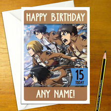 ATTACK ON TITAN Personalised Birthday Card - anime personalized eren mikasa levi
