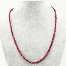 Red Ruby faceted beads necklace with 18 kt (750/1000) gold clasp, length 50cm