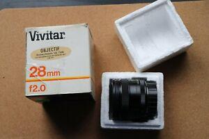 Vivitar 28mm f2 Minolta MD, wide angle,  with original box. Manual focus