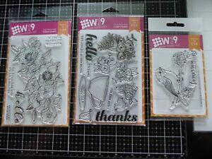 Lot of 3 Wplus9 Stamp Sets *Floral, Bird, Sentiments*