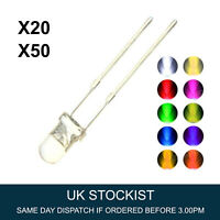 3mm and 5mm Ultra Bright Crystal Clear LED Bulb 3V Colours Light Emitting Diode