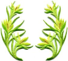 Yellow green trim flowers boho art deco appliques iron-on patches pair S-1227