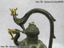 Tibet Classic Bronze Copper Gild Dragon phoenix mouth wine teapot Pot flagon