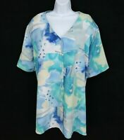 Maggie Barns Top Button Up Blouse Womens Size 4XL Blue Whtie Green Shoulder Pads