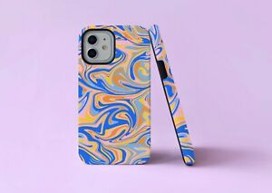 Ripple Groovy 70s Trippy Swirls 2 in 1 Hybrid Tough Phone Case/Cover For iPhone