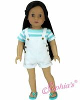 "Doll Clothes 18"" Shorts White Top Stripe Aqua Sophia's Fits American Girl Doll"
