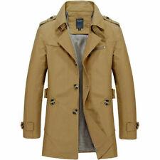 Fashion Men Mid-long Jacket Overcoat Cotton Trench Coat Tops Windbreaker Outwear