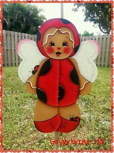 HP Wooden Yard Stake Gingerbread, Lawn Decoration, Yard Art , Summer, Ladybugs