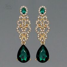 18K Gold Plated GP Green Crystal Rhinestone Chandelier Drop Dangle Earrings 0550