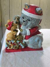 Vintage Big Arrow Christmas Cat & Mouse cast iron painted door stop