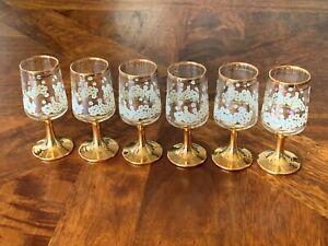 Mint! Set of 6 Vintage Retro Bohemia Gold Gilt Lustre Ware Port/Sherry Glasses