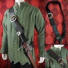 Strong Heavy Duty Leather Medieval Style Baldric With Brass Buckle. Costume LARP