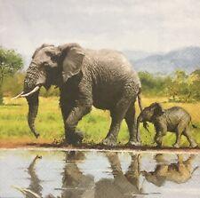 2 single paper napkins Serviette Decoupage Crafts Africa Safari Animals Elephant