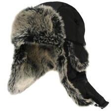 Firetrap Trapper Mens Hat Beanie Faux Fur Padded Cap Black Retro Winter T263