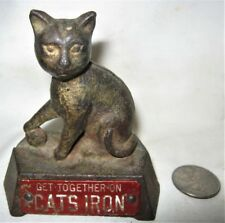 ANTIQUE SIGN CAST IRON USA CAT KITTEN ART ADVERTISING PLAQUE STATUE PAPERWEIGHT