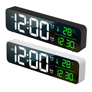 Bedroom LED Large Digital Alarm Clocks With Snooze Dual Clock USB Charger Dimmer