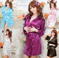 Sexy SILK LACE Kimono Dressing Gown Bath Robe Babydoll Lingerie+G-string UK