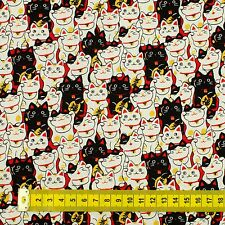 Neko Lucky Cat Japanese Oriental Fabric Cotton Fat Quarter FQ #F0024