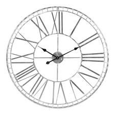 XXL Large 80 Cm Argent Horloge Murale énorme Déclaration Chiffre métal fer Salon