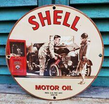 New ListingVintage 1939 Shell Porcelain Sign Gas & Oil