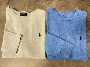 EUC Lot of 2 Polo Ralph Lauren Boys T-shirts Size M(10-12) Blue & Grey Pony Logo