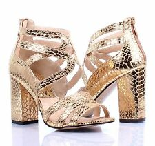 Gold Snake Skin Design Prom Pumps Platform Womens Sandals Cuban High Heels Size