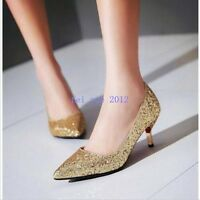 Size Ladies Rhinestones Mid Heel Pointy Toe Pumps Sequins Slip on Wedding Shoes