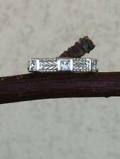Judith Ripka 3 Stone Princess Cut Diamonique Silver 4.6 g/Size 5.75 Stackable