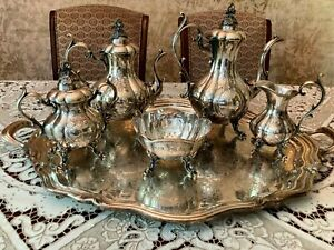6 PC REED & BARTON SILVER  WINTHROP SHIELD FOOTED COFFEE TEA SET CIRCA 1959