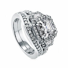 4.01Ct Solitaire Diamond Wedding Band Set 14k White Gold Brilliant Cut VVS1/D