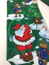 Men's Tie HALLMARK YULE TIE GREETINGS Golf Theme Christmas Necktie Pre-owned